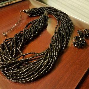 Beautiful black beaded necklace & earrings set